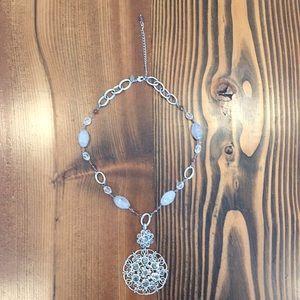 Lia Sophia Silver Metal Beaded Necklace w Pendant